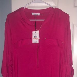 Hot pink jersey blouse